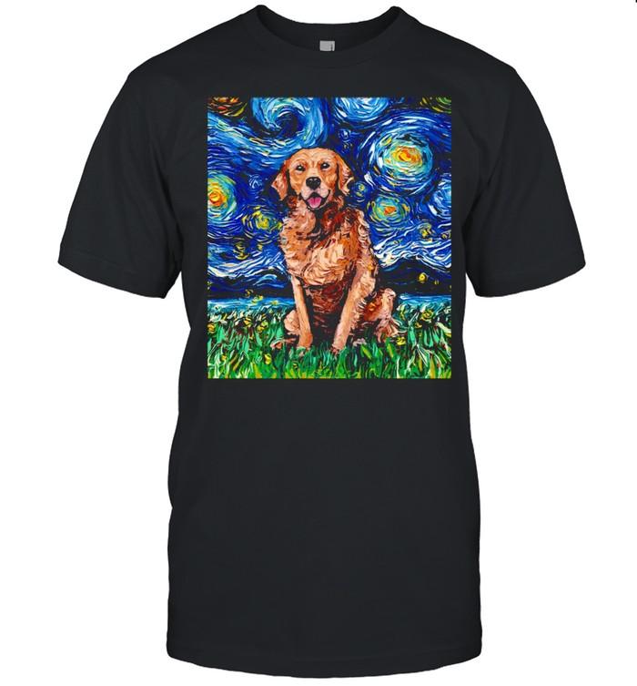 Dark Coat Golden Retriever Starry Night Dog Art by Aja  Classic Men's T-shirt
