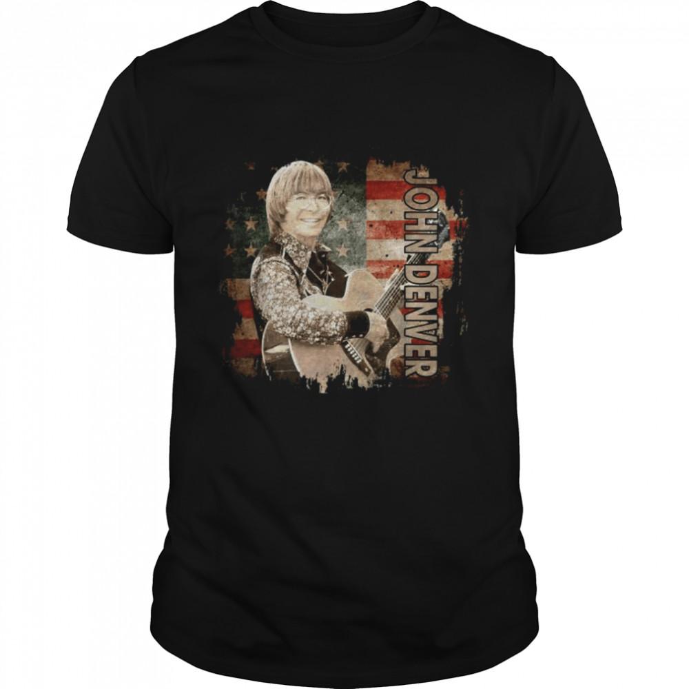 Graphic John Art Denver Vaporware Music Retro Flag American  Classic Men's T-shirt