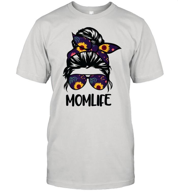 Mom Life Messy Hair Bun Sunflower Mother's Day  Classic Men's T-shirt