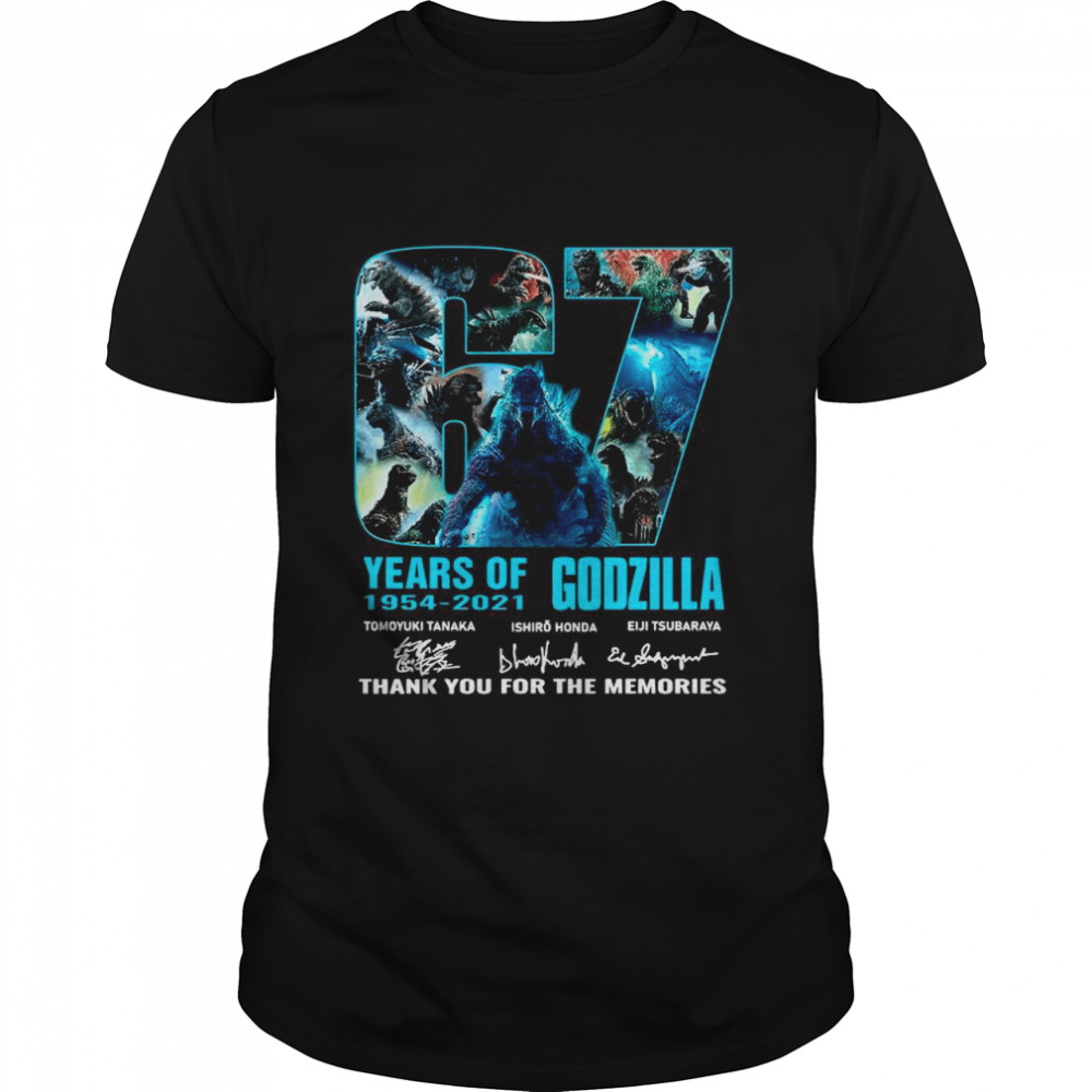 The Godzilla 67 Years 1954 2021 Signatures Thank You For The Memories shirt Classic Men's T-shirt