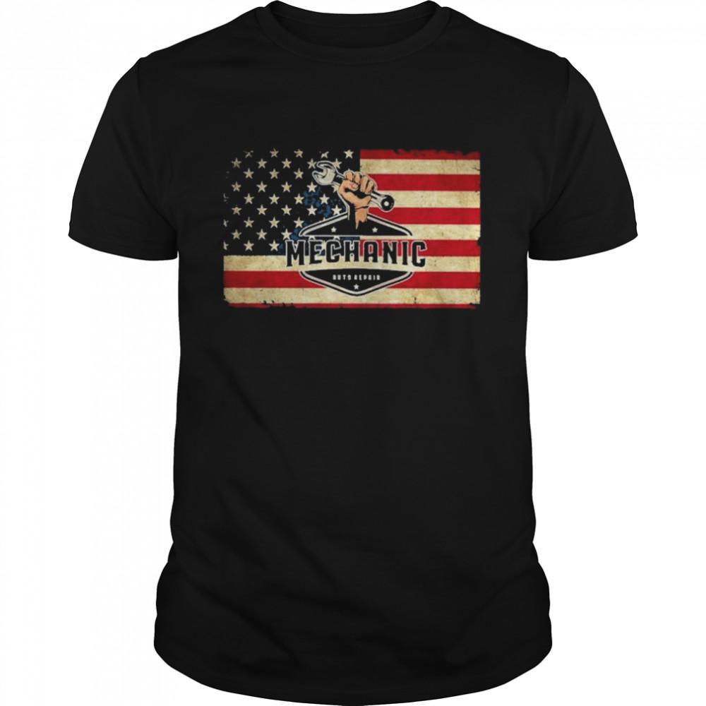 Mechanic auto repair American flag shirt Classic Men's T-shirt