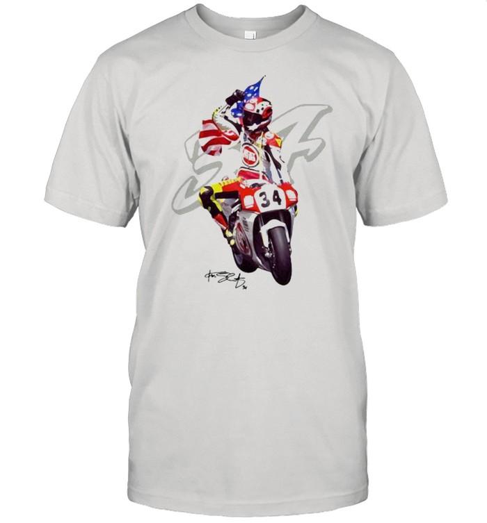 Kevin Schwantz The Wheelie King Of The Mountain Signature  Classic Men's T-shirt