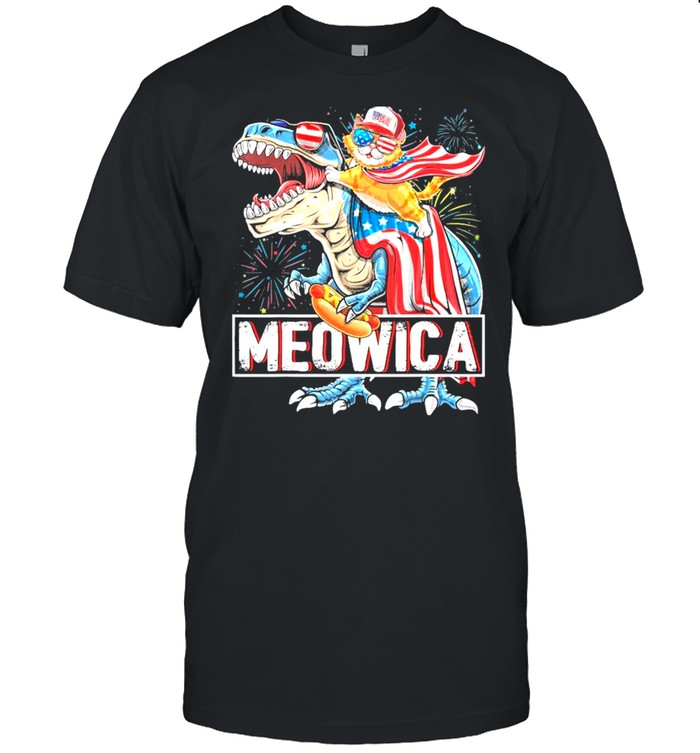 Meowica Cat Riding T- Rex Dinosaur 4th Of July American Flag Kids shirt Classic Men's T-shirt