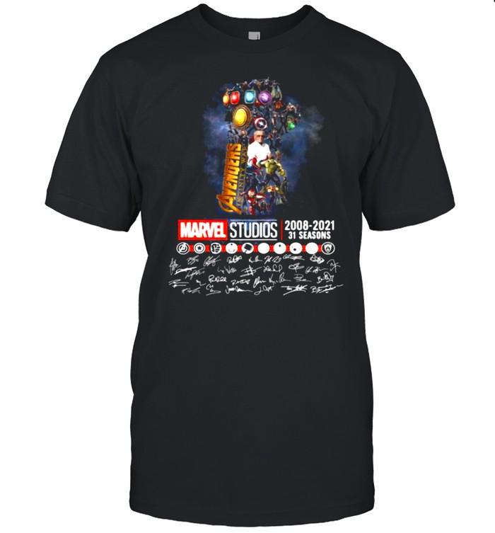 Avengers Marvel Studio 2008 2021 31 Seasons Signature  Classic Men's T-shirt