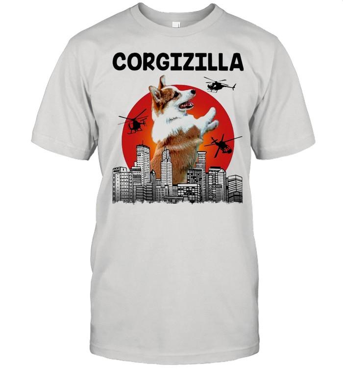 Corgizilla Helicapter Blood Moon  Classic Men's T-shirt