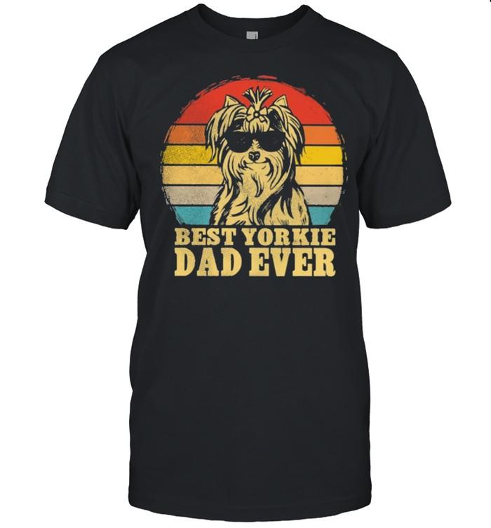 Best Yorkie dad ever sunset retro shirt Classic Men's T-shirt