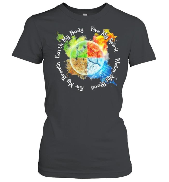 Find my spirit water my blood air my breath earth my body shirt Classic Women's T-shirt