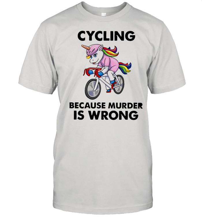 Unicorn Cycling Because Murder Is Wrong Vintage T-shirt Classic Men's T-shirt