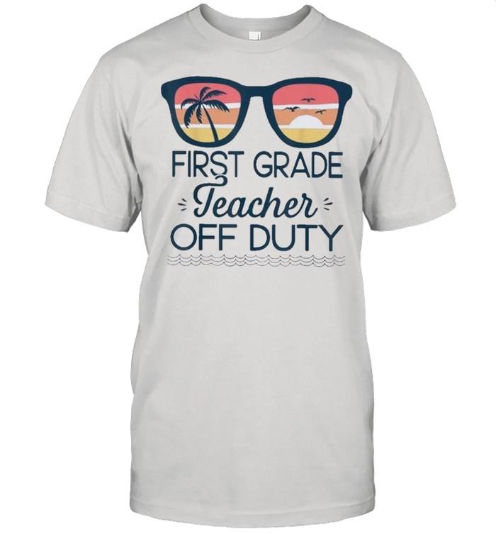 First Grade Teacher Off Duty Sunglasses Beach Sunset shirt Classic Men's T-shirt