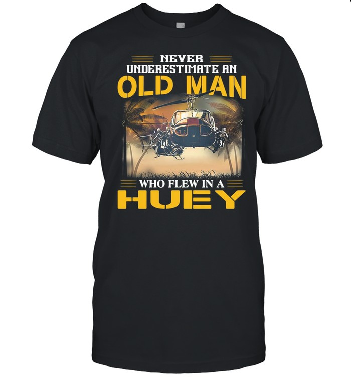 Helicopter Never Underestimate An Old Man Who Flew In A Huey Vintage  Classic Men's T-shirt