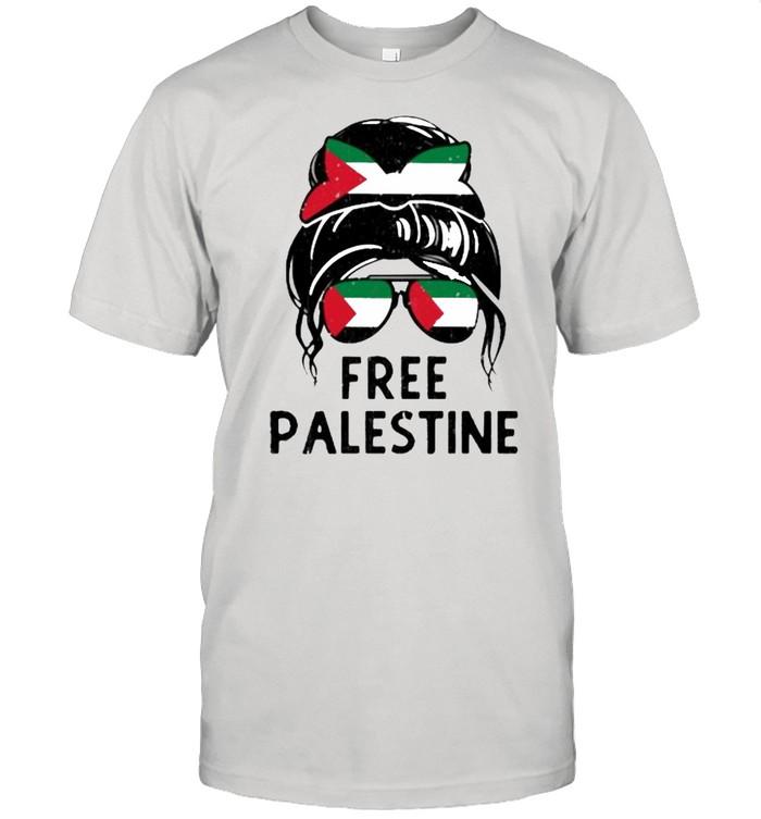 Free Palestine Flag Save Gaza Strip End Messy Hair Bun  Classic Men's T-shirt