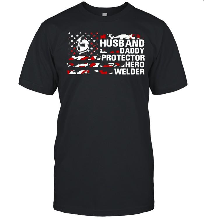 American Flag Husband Daddy Protector Hero Welder T-shirt Classic Men's T-shirt