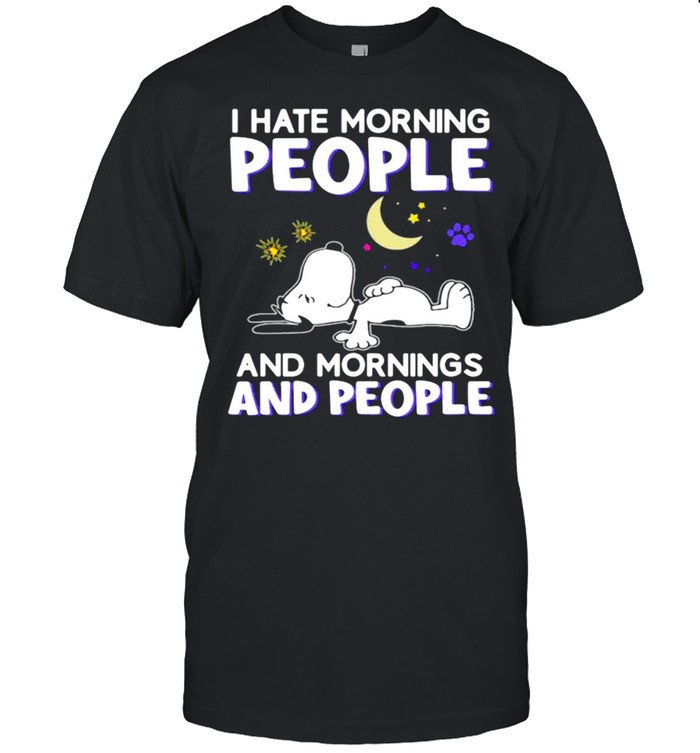 I hate morning people and mornings and people snoopy moon shirt Classic Men's T-shirt