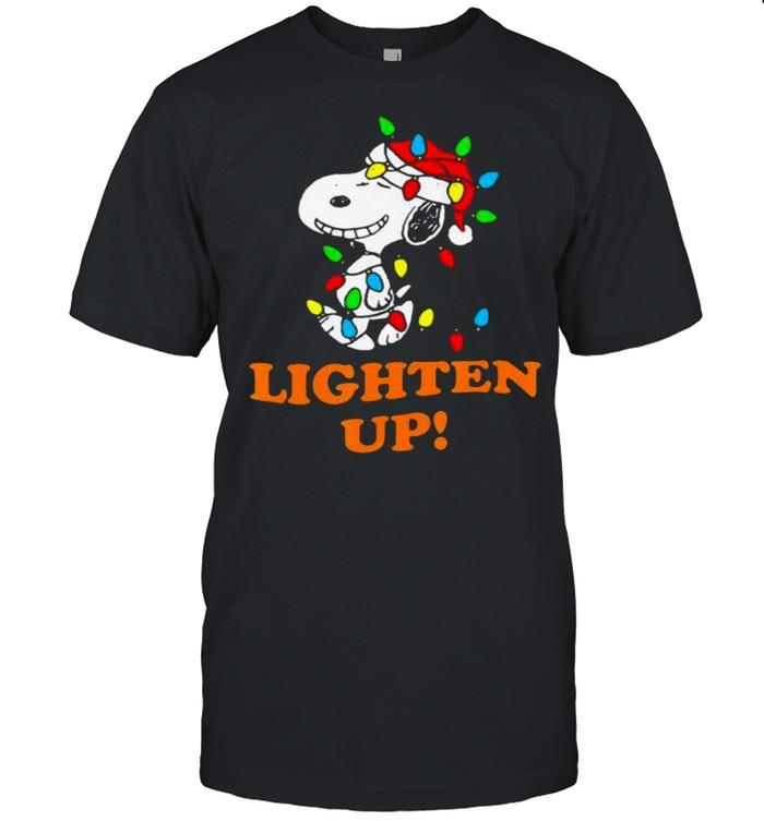 Lighten up snoopy wear hat santa clause merry christmas shirt Classic Men's T-shirt