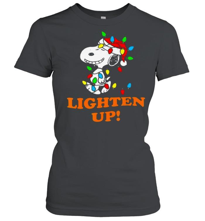 Lighten up snoopy wear hat santa clause merry christmas shirt Classic Women's T-shirt