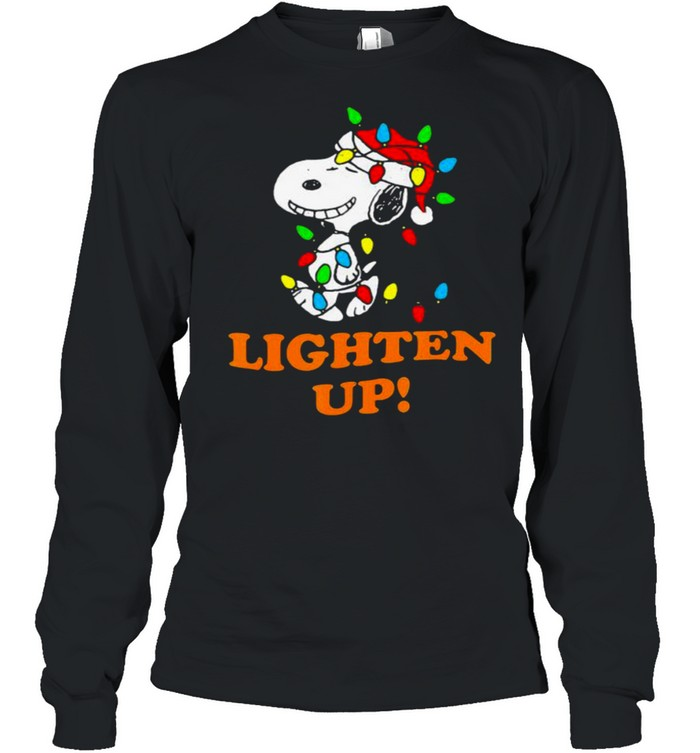 Lighten up snoopy wear hat santa clause merry christmas shirt Long Sleeved T-shirt