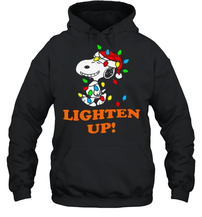 Lighten up snoopy wear hat santa clause merry christmas shirt Unisex Hoodie