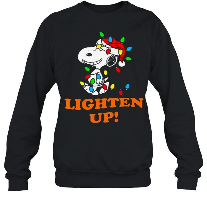 Lighten up snoopy wear hat santa clause merry christmas shirt Unisex Sweatshirt