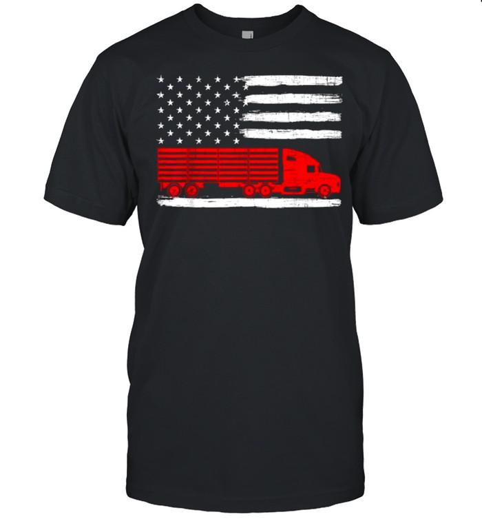 American Trucker USA Flag Truck Driver Driving Trailer T- Classic Men's T-shirt