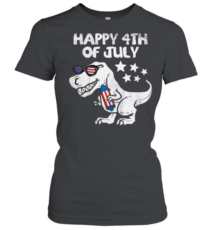 Happy 4th Of July Trex Dinosaur American Dino T- Classic Women's T-shirt