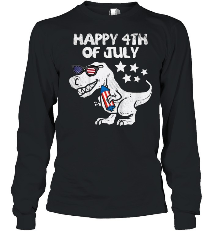 Happy 4th Of July Trex Dinosaur American Dino T- Long Sleeved T-shirt