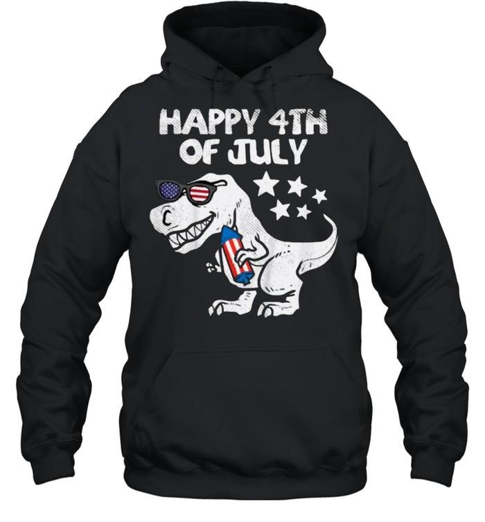 Happy 4th Of July Trex Dinosaur American Dino T- Unisex Hoodie