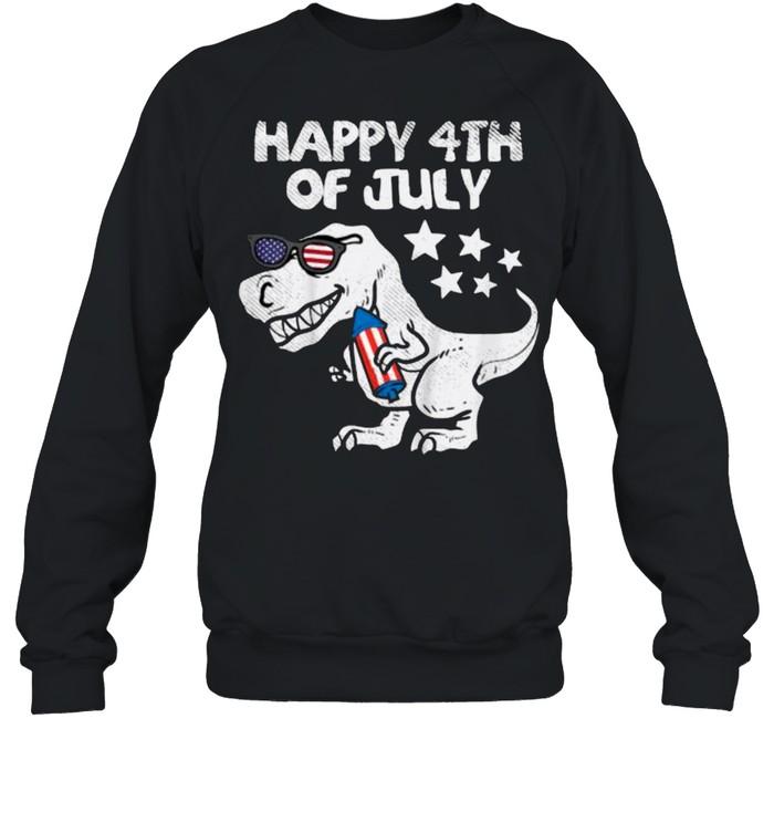 Happy 4th Of July Trex Dinosaur American Dino T- Unisex Sweatshirt
