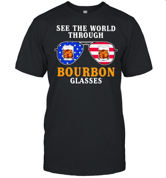 See the world through bourbon glasses american flag shirt Classic Men's T-shirt
