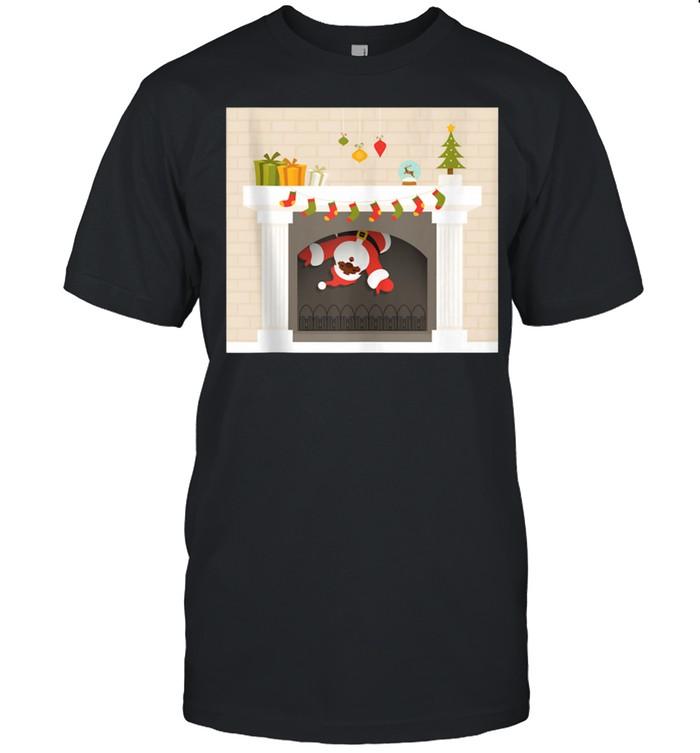 Christmas african santa claus stuck in fireplace shirt Classic Men's T-shirt