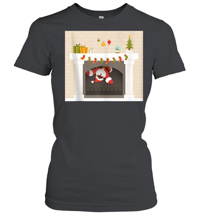Christmas african santa claus stuck in fireplace shirt Classic Women's T-shirt