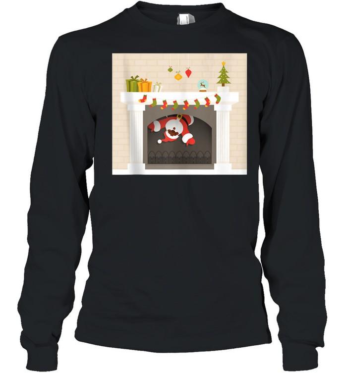 Christmas african santa claus stuck in fireplace shirt Long Sleeved T-shirt