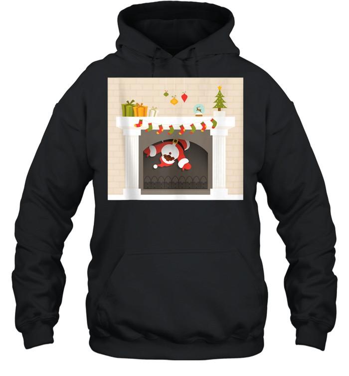 Christmas african santa claus stuck in fireplace shirt Unisex Hoodie