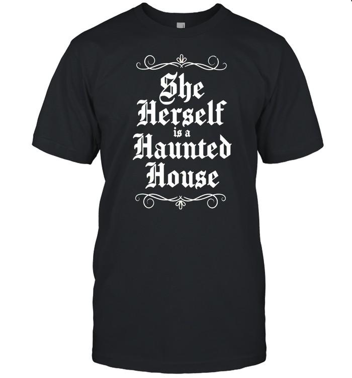 She herself is a haunted house shirt Classic Men's T-shirt
