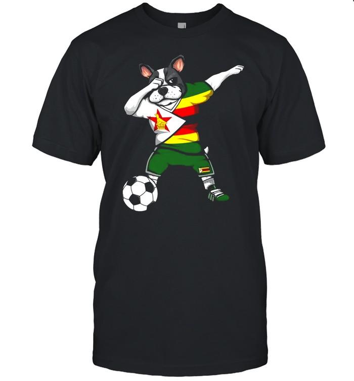 Dabbing French Bulldog Zimbabwe Soccer Fans Jersey Football  Classic Men's T-shirt
