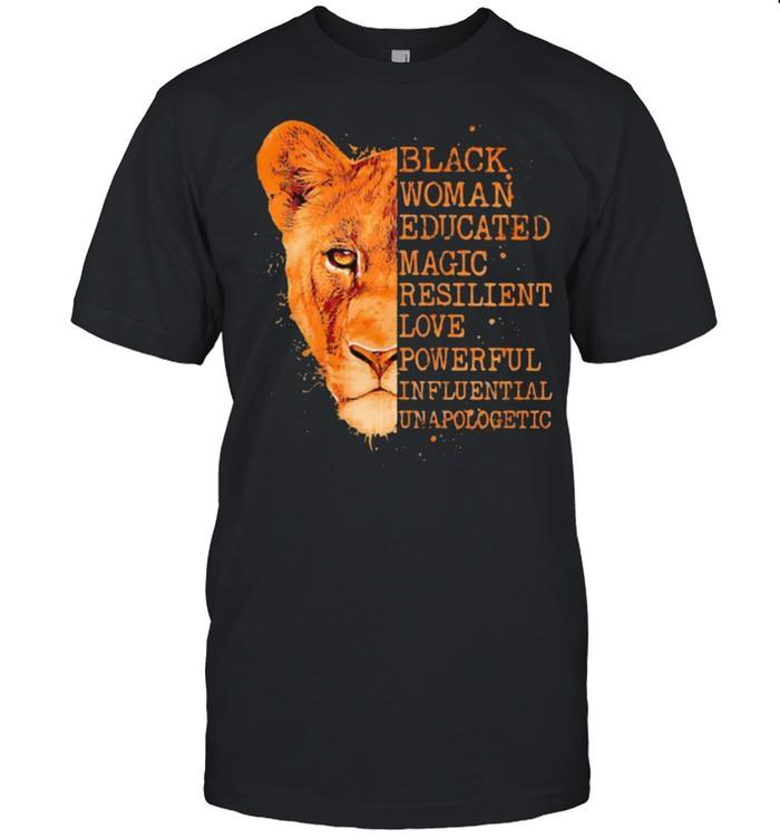 Black Woman Educated Magic Resilient Love Powerful Influential Lion  Classic Men's T-shirt