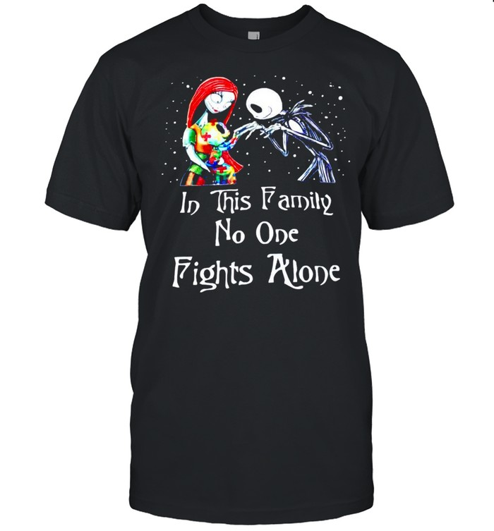Jack and Sally Autism son in this family no one fights alone shirt Classic Men's T-shirt