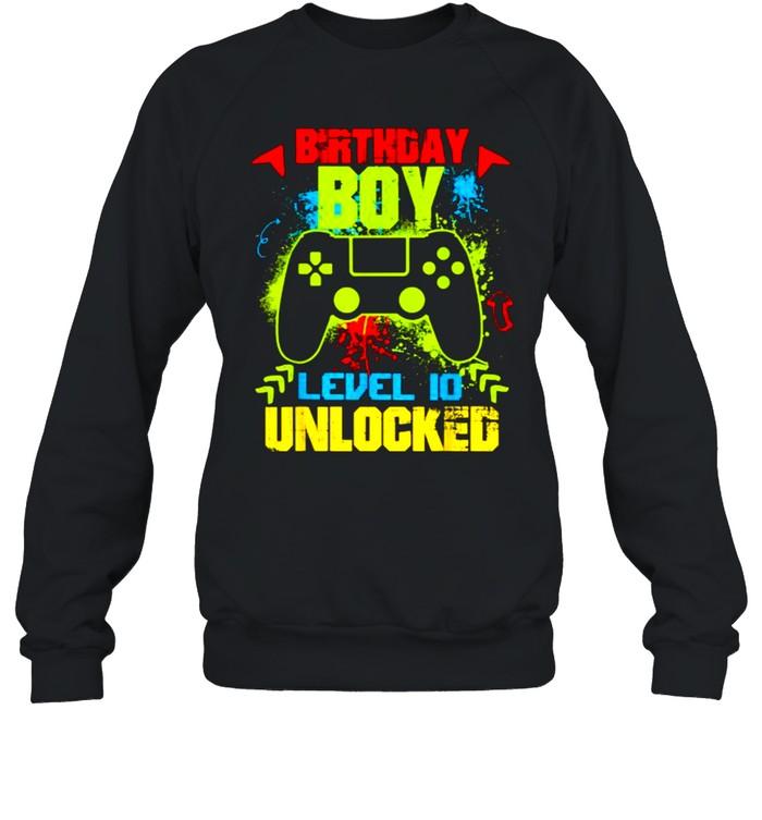 Birthday Boy Level 10 Unlocked Video Gamer T- Unisex Sweatshirt