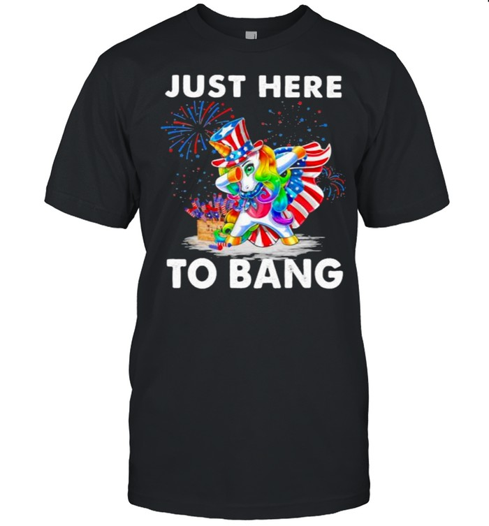 Unicorn Just Here To Bang American Flag Firework  Classic Men's T-shirt
