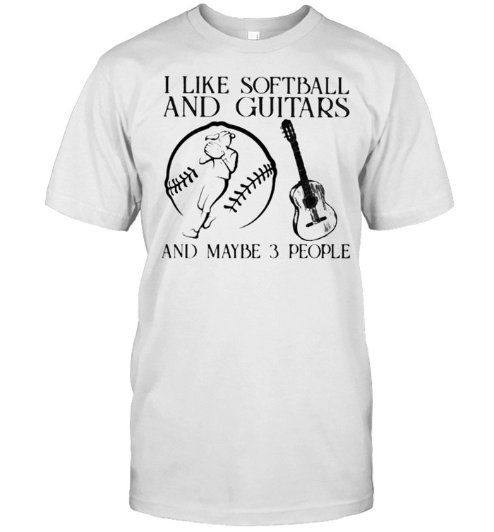 I Like Softball And Guitars And Maybe 3 People Vintage  Classic Men's T-shirt