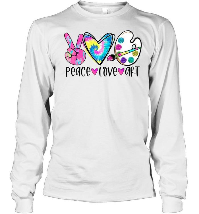 Peace Love Art Tie Dye shirt Long Sleeved T-shirt