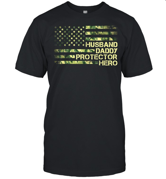 Husband Daddy Protector Hero for Dad Grandpa Fathers Day shirt Classic Men's T-shirt