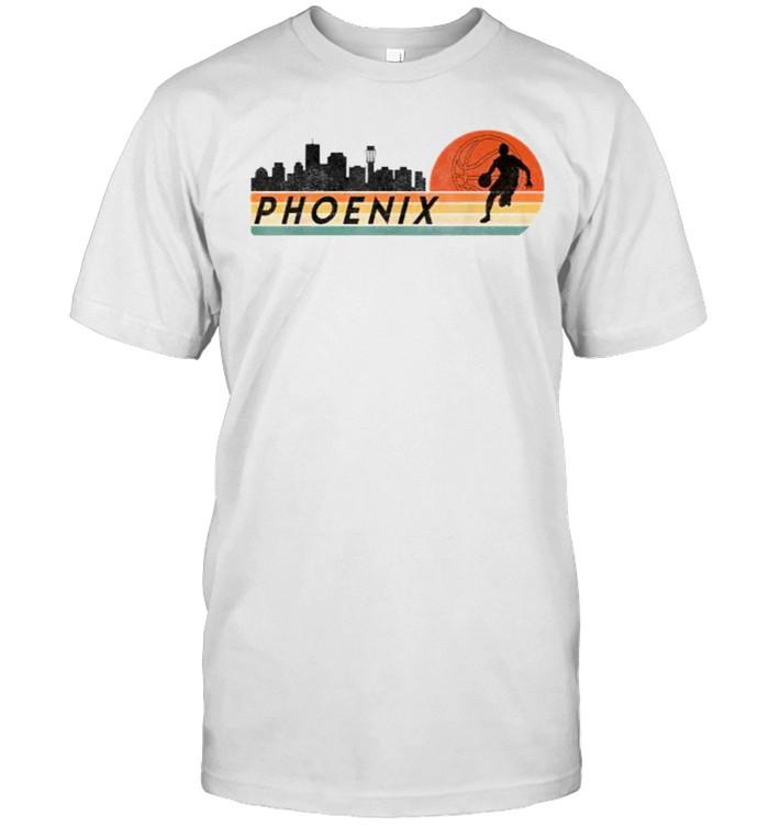 Phoenix AZ Cityscape Retro Sun Basketball Fans  Classic Men's T-shirt