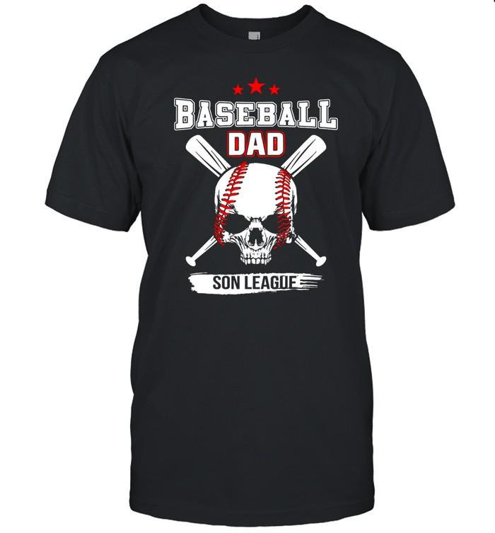 Skull baseball dad son league American flag shirt Classic Men's T-shirt