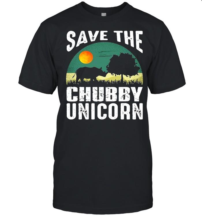 Save The Chubby Unicorn Fat Rhino Vintage T-shirt Classic Men's T-shirt