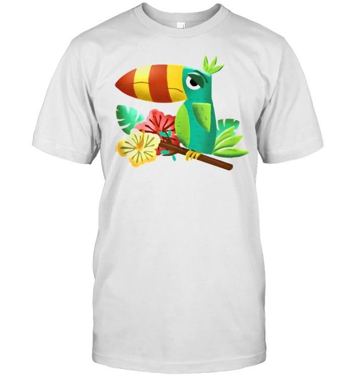 Colorful Funny Tropical Tiki Toucan Bird Hibiscus Flowers  Classic Men's T-shirt