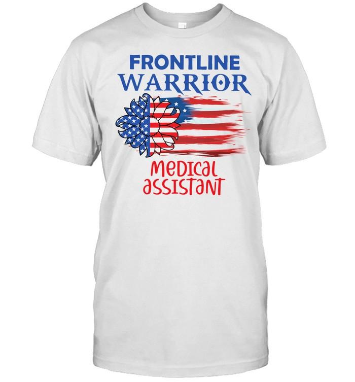 FRONTLINE WARRIOR MEDICAL ASSISTANT SUNFLOWER AMERICAN FLAG SHIRT Classic Men's T-shirt