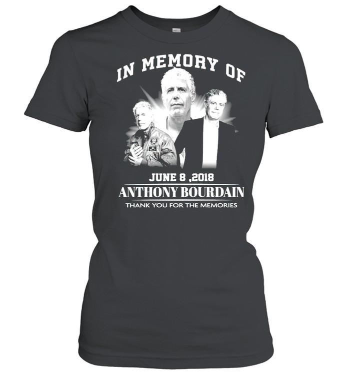 In memory of Anthony Bourdain June 8 2018 thank you for the memories shirt Classic Women's T-shirt