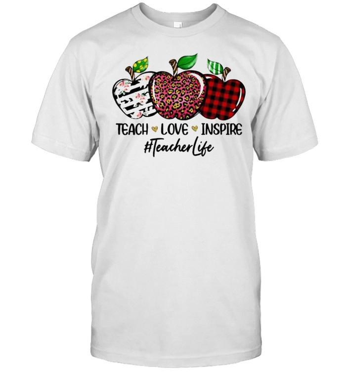 Teacher love inspire teacherlife apples leopard flower shirt Classic Men's T-shirt