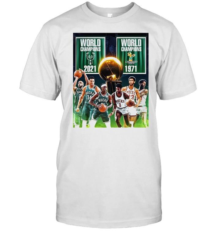 1971 2021 Milwaukee Bucks 2x World Champions NBA shirt Classic Men's T-shirt