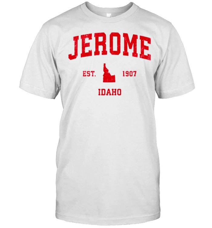 Jerome Idaho ID Vintage Sports Design Red Print shirt Classic Men's T-shirt